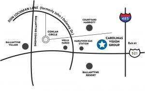 map of Carolinas Vision Group optometry office in Ballantyne area of south Charlotte